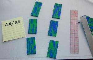 J'ai couper les extrémités en guenilles, puis diviser la feuille en 6 morceaux égaux.
